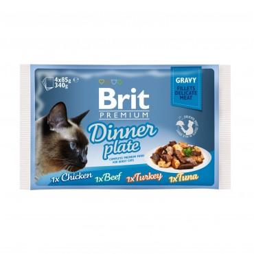 Влажный корм для кошек Brit Premium Cat Dinner Plate Fillets Gravy pouches 340 г (ассорти из 4 вкусов «Обеденная тарелка» в соусе) (111256/415)