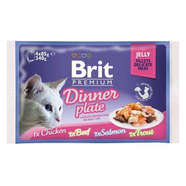 Влажный корм для кошек Brit Premium Cat Dinner Plate Fillets Jelly pouches 340 г (ассорти из 4 вкусов «Обеденная тарелка» в желе) 111244/392