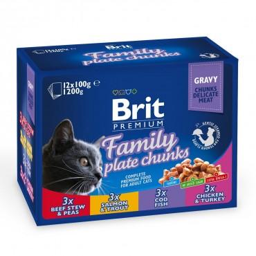 Влажный корм для кошек Brit Premium Cat Family Plate pouches 1200 г (ассорти из 4 вкусов «Семейная тарелка») (100278 /506255)
