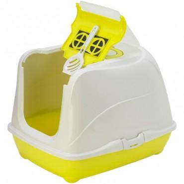 Закрытый туалет для кошек Moderna Flip Cat Jumbo с откидной крышкой лимонный (C240329)