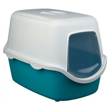Закрытый туалет для кошек Trixie Vico Litter Tray бирюзовый/белый (40275)